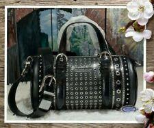 NWT MICHAEL KORS STANTON Medium Studded E/W BARREL Messenger Bag BLACK Leather