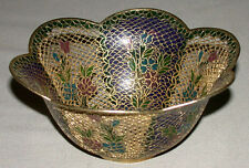 Antique Chinese Plique A Jour Enamel Stained Glass Floral Dish Bowl # 2