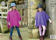 King Cole 4928 Knitting Pattern Girls Ponchos in King Cole Majestic DK