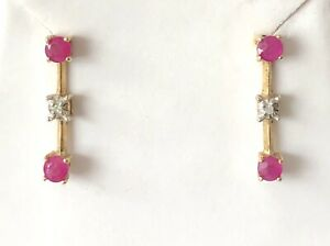 Genuine Ruby & Diamond 10k Yellow Gold Earrings Signed CID
