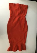 Missguided Womens Red Bodycon Bandage Sleevless Dress Size Uk 10 Midi Length