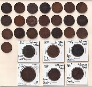 Nice lot of 21 Canada Large Cents + 7 tokens 1837-1918. Upper/Lower Canada etc
