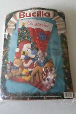 "Christmas BUCILLA STOCKING Applique FELT KIT,SANTA AND STUFFED ANIMALS,83017,28"""