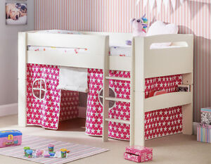 White Midsleeper with Blue or Pink Tent Options and Mattress Option