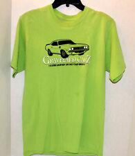 MEN'S SIZE MEDIUM GRAVEYARD CARZ MOPAR OR NO CAR SHORT SLEEVE T-SHIRT CHARTREUSE