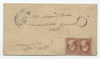 1859 Moorefield (Ohio?) 2x #26 on cover to Canada [5053]