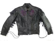 HUDSON LEATHER M USED THICK HEAVY FRINGE PURPLE FLOWER MOTORCYCLE JACKET LINED