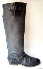 NIB STEVE MADDEN 'Rovvee' black leather back zipper TALL FLAT BOOTS 5.5 - hot