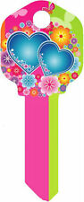 """Happy Keys """" Flower & Hearts """" House Key Blank Kwikset Kw1"""
