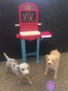 Barbie Veterinarian Lot Dogs X-ray Exam Table Machine Dish
