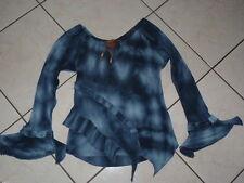 PIMKIE Haut T-shirt danseuse 36/38 volants bleu Blouse top