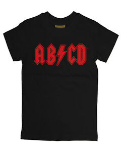 BABY T SHIRT ABCD AC/DC Inspired ROCK MUSIC FUNNY METAL SLOGAN Hipster baby
