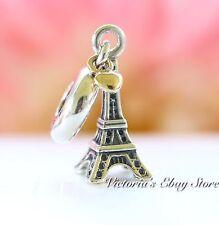 Authentic Pandora Sterling Silver & 14 K Gold Eiffel Tower Pendant Charm 791302