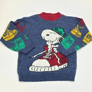Vintage SNOOPY Hot Cashews Childs Sweater Primary COLORBLOCK  - Small hole