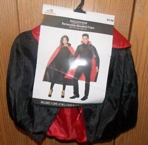 Adult Black Red Reversible Hooded Halloween Cape Costume Dracula Vampire Unisex