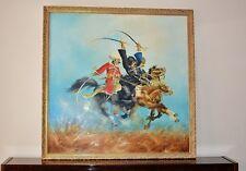 """Dipinto ad olio su tela battaglia di Vienna 1683 firmato Sobieski 39"""" x 39"""" Grande"""