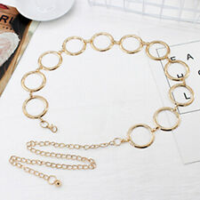Women Metal Waist Chain Gold Plating Decorative Belt Circle Dress Chain Belts US