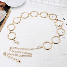 Women Metal Waist Chain Gold Belt Circle Dress Chain Belt Chain Belt Girdles US