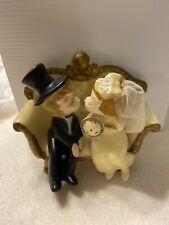 Vintage 1970 Wilton Bride and Groom Wedding Cake Topper First Kiss Couch Cherub