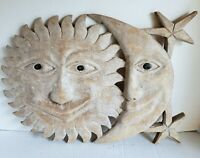 Vintage Carved Wood Sun Moon Stars Carving Outsider Folk Art Home Wall Decor