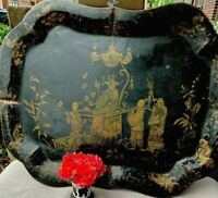 Antique English Chinoiserie Toleware Tray Platter Display