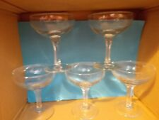 5 VINTAGE CHAMPAGNE SAUCERS / COUPE / GLASSES (Hexagonal Stem)