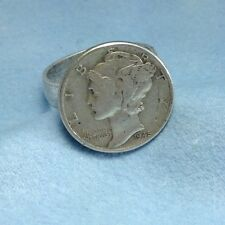 COIN JEWELRY~US Liberty Mercury dime silver ADJUSTABLE RING NEW made in the USA