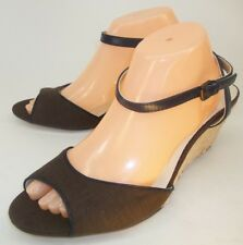 Lands' End Wos Sandals US 11 B Blue Leather Brown Fabric Ankle Strap Wedge 1069