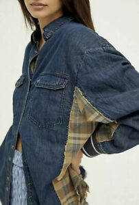 Free People We The Free Mixed Fabric Oversized Jacket Denim Plaid LARGE NWT $168