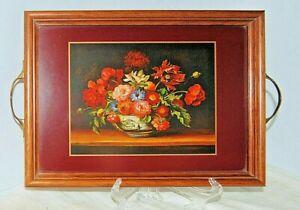 Vintage Wooden Pimpernel Wood Framed Serving Tray Burgundy Rim Victorian Floral