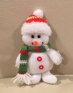 "Snowman Christmas Pick~For Wreath Ornament Decor ~Scarf & Hat  5""(9"" W/Stem)"
