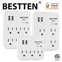 BESTTEN 2 USB Wall Outlet Charger Surge Protector & Multi AC Sockets Plug ETL
