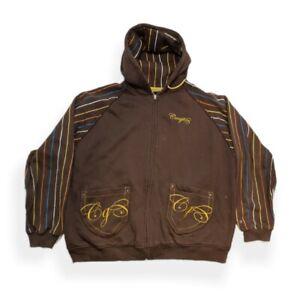 Coogi Hoodie Striped Sweatshirt Brown Embroidered Rare XXXL 3XL
