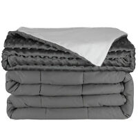 """20 lbs Weighted Blanket, 100% Cotton W/Glass Beads 60""""x80"""" Gray - W/ Duvet Cover"""