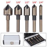 "1/4"" To 3/4"" 5 Pcs HSS Countersink Drill Tool Bit Set for Steel Hard Metals UK"