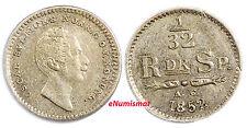 Sweden Oscar Silver 1852/1 AG  1/32 Riksdaler Overdate  AU/UNCToning KM# 681