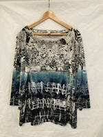 CHICOS Shirt Size 3 Blue White Grey Black Top Abstract Artsy Unique Blouse Top