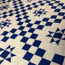 Patchwork Blue & White Irish Chain W/ Ohio Star QUILT TOP