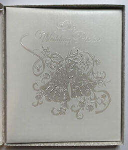 "HALLMARK ""Our Wedding Photos"" Album Ivory Embossed Wedding Bells Vintage - NOS"