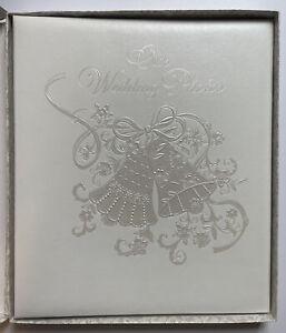"HALLMARK ""Our Wedding Photos"" Album Ivory Embossed Wedding Bells Vintage - NOS"