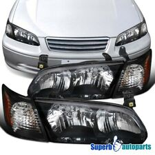 For 2000-2001 Toyota Camry Black Headlights Lamps+Corner Turn Signal Lights