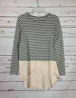 Mystree Anthropologie Women's S Small Gray Striped Long Sleeve Spring Top Blouse