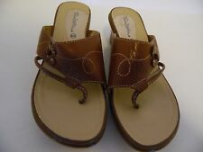 THOM MCAN LADIES LEATHER BROWISH BEIGE THONG SANDALS SIZE 8M