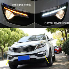 2x White+Yellow LED DRL daytime running lights For KIA Sportage R 2011 2012 2013