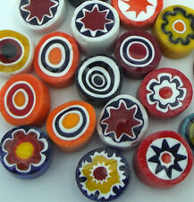 One Ounce 9-11mm Millefiori Glass Slices Large Opaque Lampworking 104 Coe