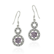 925 Silver Amethyst & Diamond Accent Double Circle and Flower Earrings
