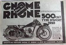 PUBLICITE-   moto  gnome rhone 500    ref. 7033