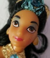 "DISNEY PRINCESS DOLL ALADDIN JASMINE 6.5"" MINI DOLL BLUE & GOLD OUTFIT"