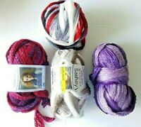Red Heart Sashay Boutique Yarn Lot - 4 Skeins Mixed Tango Shuffle Purple Red/Blk