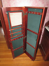 "WOODEN MIRRORED JEWELRY ARMOIRE WALL MOUNT CABINET 48"" TALL OAK W CHERRY FINISH"
